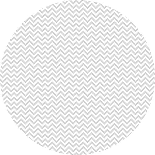 Deco&Fun - Alfombra Vinílica Redonda Zigzag Gris 80x80cm - Alfombra PVC Alfombra vinílica Cocina- Alfombra vinílica salón - Alfombras de Vinilo- Alfombra Redonda