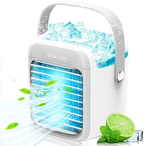 Portable Air Conditioner, Enklen Portable Cooler, Quick & Easy Way to Cool Personal Space, As Seen On TV, Suitable for Bedside, Office and Study Room. Three Wind Level Adjustment