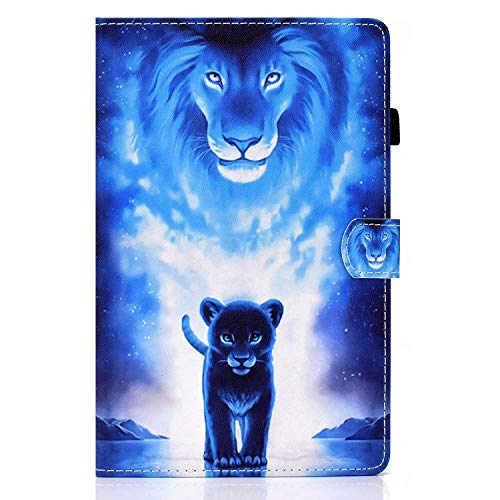 L&Btech Funda para Samsung Galaxy Tab A7 10.4'' 2020 Carcasa SM-T500/T505/T507 Flip Estuche Ligero Protectora Cubierta Cover con Soporte y Bolsillo, para Samsung Tab A7 10.4 Pulgada - León Azul