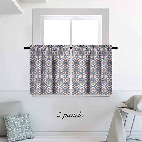 ScottDecor Quatrefoil Kitchen Tier Curtains Cafe Curtains Circular and Floral Shapes with Intricate Design Traditional Moroccan Star 30 x 54 inch Print Rod Pocket Small Window Curtain for Bathroom