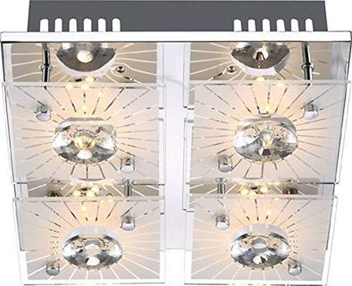Plafondspots 4 spots LED plafondlamp woonkamer 24 cm plafondlamp (kristallen, 4 spots, vloerlamp, 4 x 4 watt)