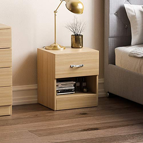 Vida Designs Pine Bedside Drawer, Bedside Cabinet, 1 Drawer, Bedside Table, Metal Handles & Runners
