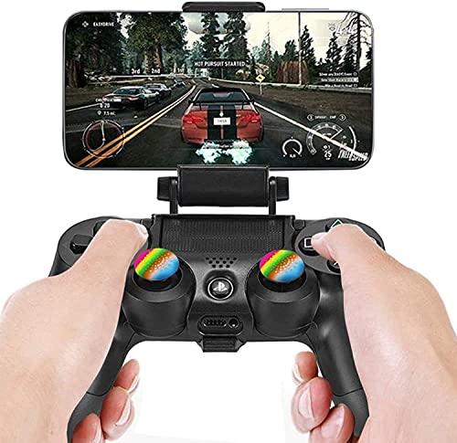 TPFOON 2 Soportes Plegable para Clip de Teléfono para Mando Sony PS4, Clip Sujetador Holder de Teléfono Móvil para Playstation 4 DualShock 4 Controlador Inalámbrico