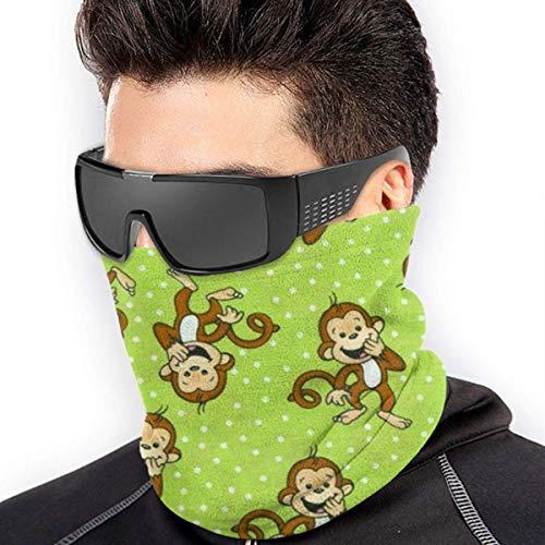 Grüne Kaktus-Muster Kopfbedeckung Halswärmer Gaiter für Männer, Maske Sonne UV-Staubschutz für kaltes Wetter, Outdoor Camping, Laufen Gr. Einheitsgröße, Grüner clever Affe