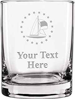 Custom Engraved Double Old Fashioned Glass, 13.5 oz Personalized Sailboat Whiskey Glass Gift, Your Own Text Included Prime