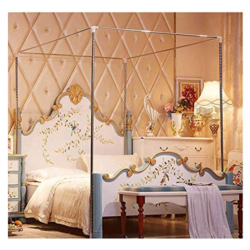 HOXMOMA Moskitonetzhalter Vier Eckbett, Edelstahl Baldachin Moskitonetz Baldachin Rahmen, Gestell für Twin/Full/Queen/King Size/California King,25mm,2×2.2m Bed