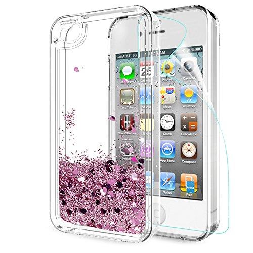 LeYi Hülle iPhone 4 / iPhone 4S Glitzer Handyhülle mit HD Folie Schutzfolie,Cover TPU Bumper Silikon Flüssigkeit Treibsand Clear Schutzhülle für Hülle iPhone 4 Handy Hüllen ZX Rot Rosegold