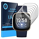 LK [6 Pack] Screen Protector for Fitbit Versa 3/Fitbit Sense [Max Coverage] [Self-Healing] [Bubble Free] Compatible with Fitbit Versa 3/Fitbit Sense, HD Clarity Flexible TPU Film