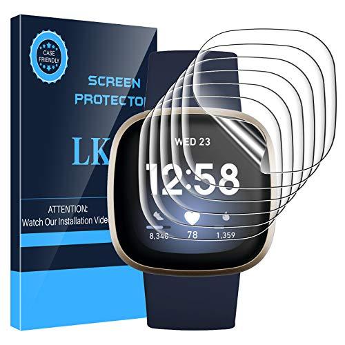 LK 6 Stück Schutzfolie Kompatibel mit Fitbit Versa 3 / Fitbit Sense Folie, Kompatibel mit Hülle Blasenfreie Klar HD Weich TPU Bildschirmschutz