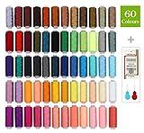 SOLEDI Fil à Coudre Kit de Fil de Polyester 60 Couleurs Chaque Bobine de 228,6 m de...