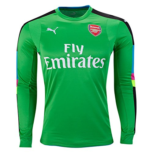 PUMA Men's Arsenal FC Long Sleeve with Sponsor Logo, Classic Green/Atomic Blue, Small
