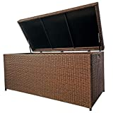 Wicker Patio Storage Deck Box Outdoor Container for Toys, Cushion, Waterproof Inner Bag, 140 Gallon, Brown