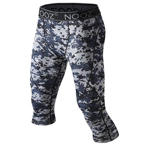 Nooz Herren Kompressionshose 3/4 Caprihose Baselayer Legging Tights mit Cool Dry Tech - Blau - Groß