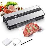 Audew Food Vacuum Machine, 80KPA 5 en 1 Sellador al vacío automático húmedo y seco, indicador LED inteligente, 10 bolsas de vacío para conservar carnes, frutas y verduras