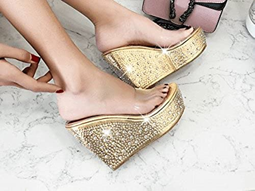 SCLOTHS été Tongs Femme Chaussures étanche Pente de Diahommets artificiels Transparent à Fond épais