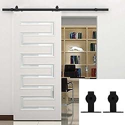 Kit d'installation pour porte intérieure coulissante de 1,5 m avec quincaillerie et roulettes noires - Hahaemall