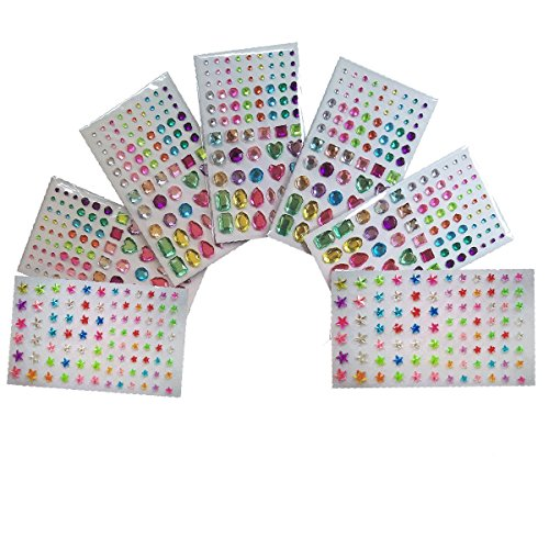 Rhinestone Sticker Sheets for Crystal Nails Art Designs Supplies and Face Rhinestones Gem Self Adhesive Bling DIY Craft Jewels Sticker