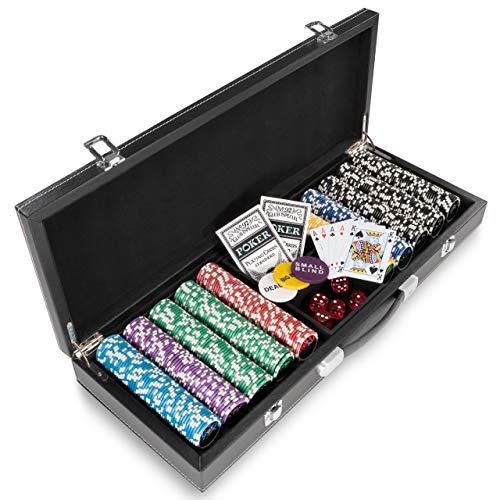 Pokerkoffer Leder Deluxe mit 500 Ocean Champion Chips abgerundet hochwertige Metallkern Jetons 12 g Pokerset mit viel Zubehör Black Jack Texas Holdem
