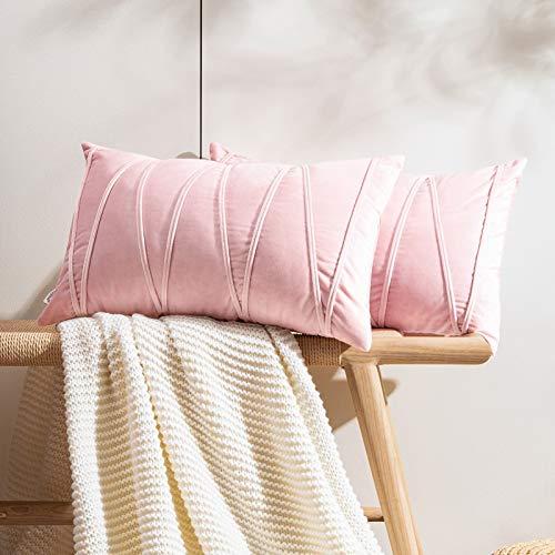 Topfinel 2 Juegos Hogar Cojines Terciopelo Suave Decorativa Almohadas Fundas de Color Sólido para Sala de Estar sofás 30x50cm Rosa