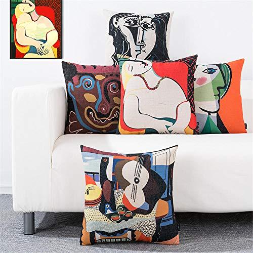 Funda de Almohada Juego de 5 Piezas Personalidad Estilo nórdico Picasso Pintura Famosa Funda de cojín Funda de Almohada Lumbar Funda de Almohada Sofá Silla de Oficina Funda de Almohada 45X45Cm