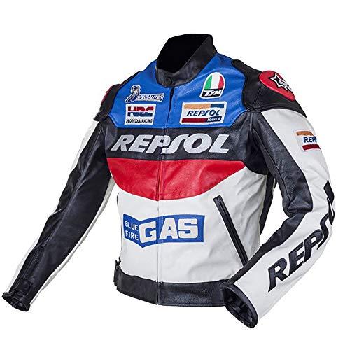 Chaqueta De Moto - Chaqueta De Moto Unisex De Primavera Y Otoño - Traje De Carreras Impermeable Y Que Cae - Maillot De Moto Rally (Blue,L)