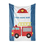 Personalized Custom Firetruck Fleece and Sherpa Throw Blanket for Boys, Girls, Kids, Baby - Toddler Fire Truck Blankets Perfect for Bedtime, Bedding, Crib Liner or as Gift (30' x 40' - Baby)