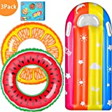 AstarX Inflatable Swim Tube Raft, 3 Pcs Swimming Rings for Kids with Summer Fruits Painting