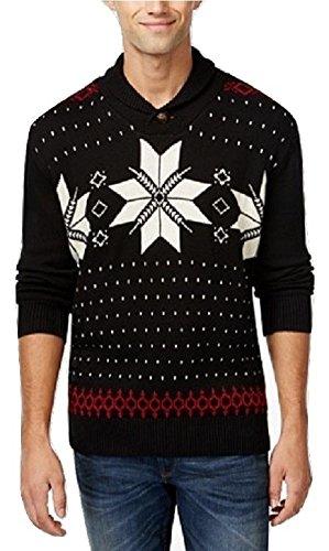Weatherproof Men's Fair Isle Shawl Collar Sweater (X-Large, Black)