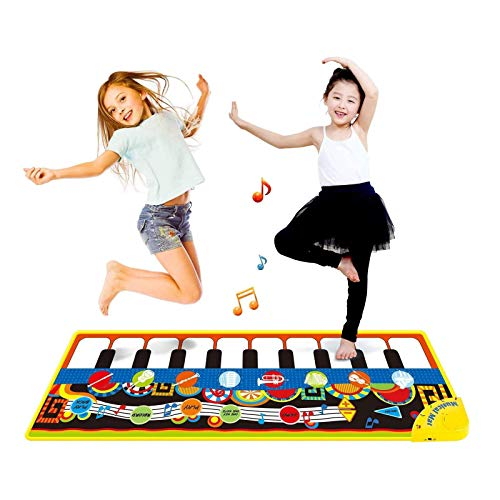 LeQi Kids Piano Keyboard Mats Musical Dance Floor Mat Carpet Music Animal Blanket Touch Playmat Early Education Toys for Baby Toddler Infants Girls Boys, 43.3 x 14.2 Inch