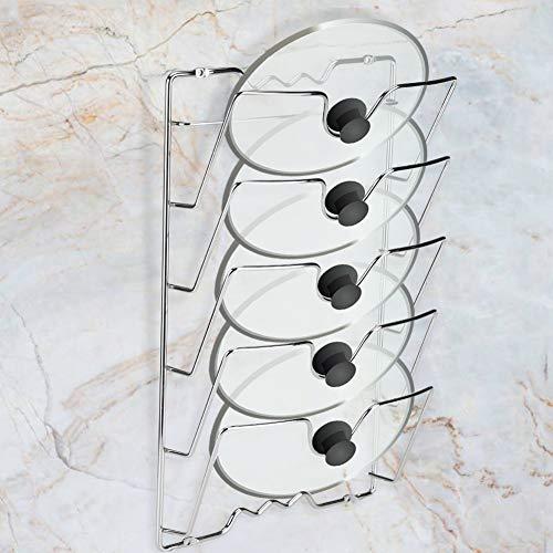Almacenamiento de ollas para cacerolas, soporte de estante de almacenamiento de tapa montado en la puerta de pared para tapas de cacerolas, acabado cromado, 5 tapas de cacerolas