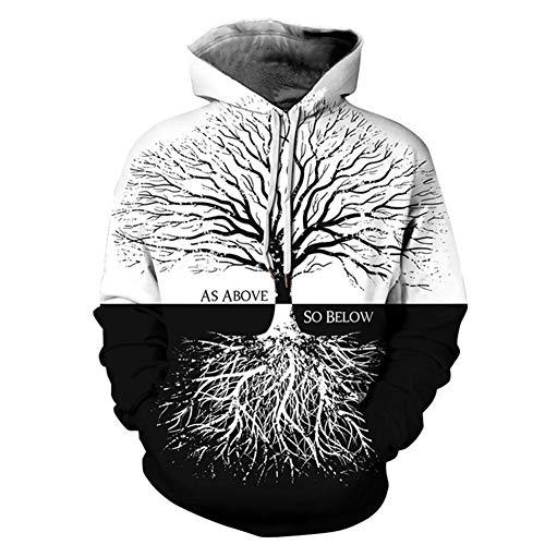 Zwarte en witte boom 3D digitale afdrukken Hooded paar trui, losse Hipster honkbal uniform stijlnaam XXX-Large Kleur