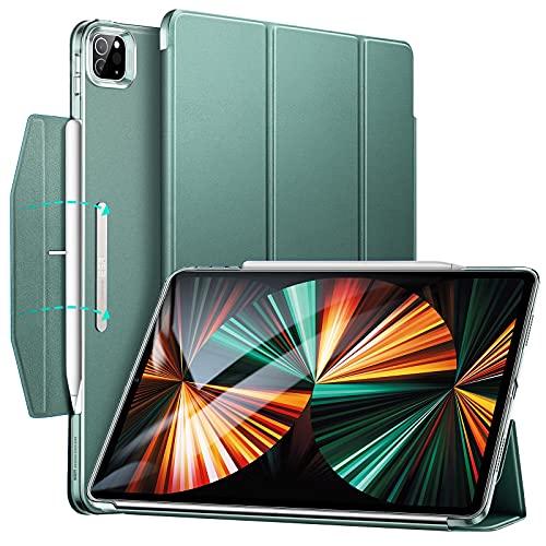 ESR Trifold Hülle kompatibel mit iPad Pro 12.9 5G 2021, mit Ständer & Schließe, Auto Schlafen/Wachen, unterstützt Pencil 2,Grün
