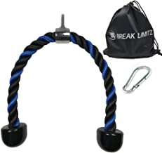 Break Limitz Blue Tricep Rope Pull Down   27 or 36 Inch Heavy Duty Nylon Rope, Chrome Cable Attachment with Solid Non Slip Ends   for Professional and Home Gyms   Includes Snap Hook & Carry Bag