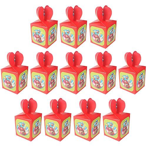 Qemsele Cajas De Fiesta Bolsas de cumpleaños, 12Pcs Regalo Cajas, Cajas de Caramelo Tema Reutilizable Bolsas de Fiesta Bolsas para cumpleaños niños la Fiesta favorece la Bolsa Bolsas Fiesta (Mario)