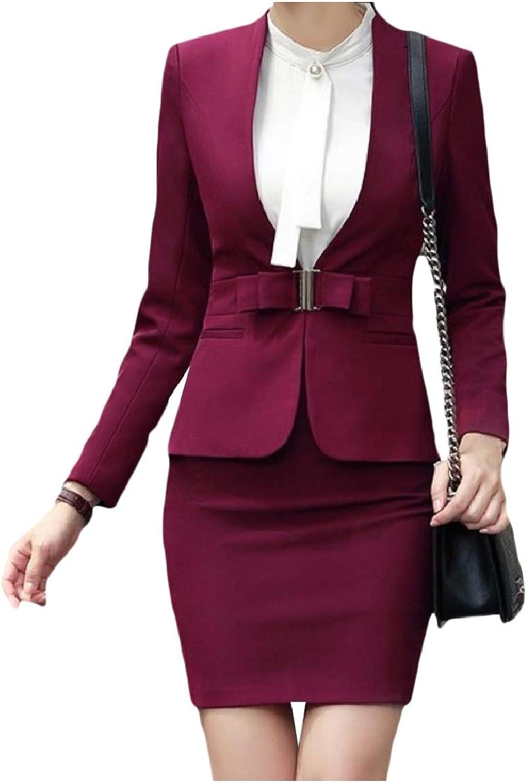 Mfasica Women Business OL Office Stand Collar Smocked Waist Skirt Suit Set