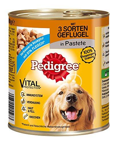 PEDIGREE Hundefutter 3 Sorten Geflügel in Pastete, 800 g