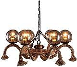 Lámpara colgante de techo American Retro Industrial Bola de cristal cuerda del cáñamo haba mágica de la lámpara E27 Edison antiguo Loft de techo de la lámpara pendiente de la sala comedor de 6 luces n