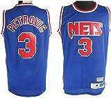 XIAOHAI Hombres NBA Jerseys -Brooklyn Nets # 3 Drazen Petrovic Respirable Fresco de Tejido Transpirable Resistente al Desgaste de Baloncesto de la Vendimia Jerseys,XXL