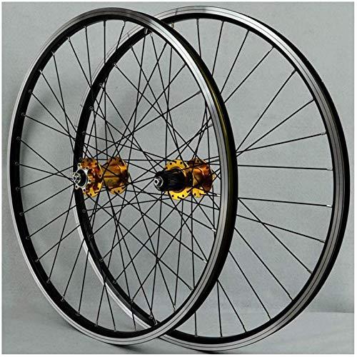 TYXTYX 26 Inch Mountain Bike Wheelset, Bicycle Wheelset Bike Wheel Double Wall Aluminum Alloy Disc/V-Brake Cycling Bicycle Wheels 32 Hole Rim 7/8/9/10 Cassette Wheels,Yellow