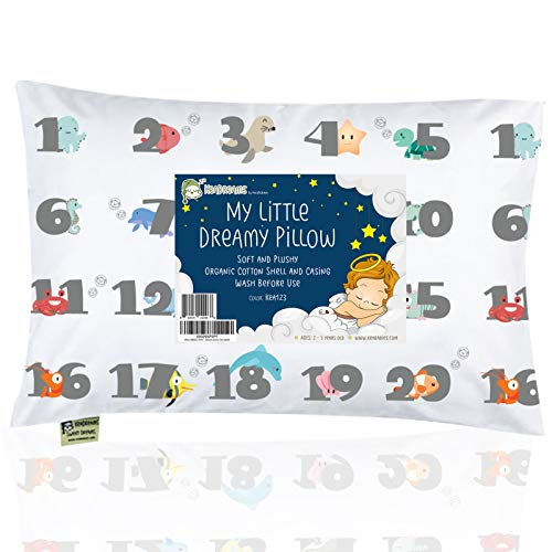 Toddler Pillow with Pillowcase - 13X18 Soft Organic Cotton Baby Pillows for Sleeping - Machine Washable - Toddlers, Kids, Boy, Girl - Perfect for Travel, Toddler Cot, Bed Set (Kea123)