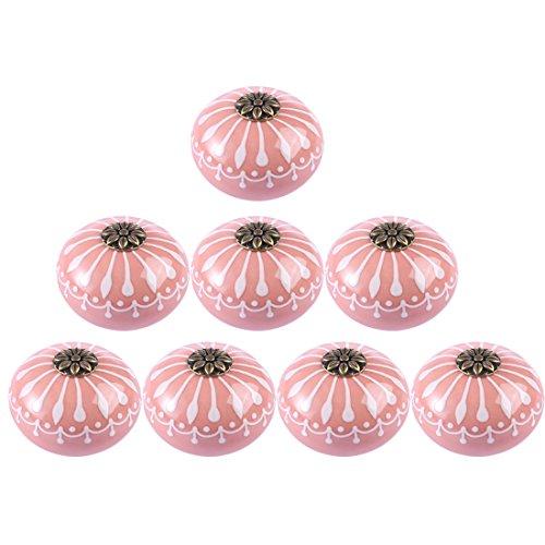 8 Pack Dresser Knobs Vintage, RuiyiF Ceramic Knobs for Cabinets Kids Dresser Drawers (Pink)