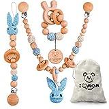 ARTESTAR catena passeggino giochi legno neonati,conigli catena per carozzina catenella portaciuccio anello dentizione,carino catenella ciuccio legno 3pz (Blu)