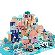GEMEM Wooden Blocks-133 Pc for Kids Preschool Ages-Classic Shapes Colorful Wood Block Set Colored Castle Building Kit Toy for Boys & Girls with with 48 Pcs Playset
