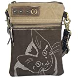 Sunsa Damen Tasche Umhängetasche, Handtasche aus Canvas & Leder. Nachhaltige Produkte, kleine Vintage Stoff Shoulder bag, Schultertasche, Segeltuch Crossbody, Geschenkideen für Frauen, Katzenmotiv