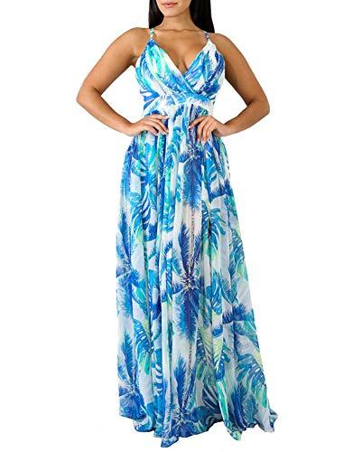 Remelon Womens Sexy Spaghetti Strap Deep V Neck Floral Boho Criss Cross Backless Chiffon Beach Party Long Maxi Dress Light Blue L