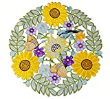 Spring Easter Place Mats Set of 4, Applique Cutouts Embroidered Birds Flowery Sunflower Table Topper Decoration,Round 14 inch, Spring Color (Round 14' -4PCS, Spring Color)
