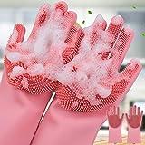 QOAL Magic Silicone Scrubbing DishWashing Gloves, Silicon Cleaning Gloves, Reusable Silicon Hand Gloves for Kitchen Dishwashing and Pet Grooming, Car, Bathroom   Multicolor - 1 Pair dishwashing gloves May, 2021