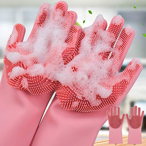 QOAL Magic Silicone Scrubbing DishWashing Gloves, Silicon Cleaning Gloves, Reusable Silicon Hand Gloves for Kitchen Dishwashing and Pet Grooming, Car, Bathroom   Multicolour - Pack of 2, free size