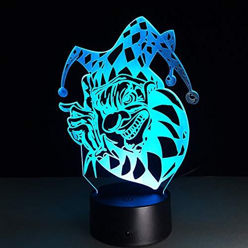 Cambio de color led decoración fresca lámpara de mesa 3D regalo payaso LED acrílico gradiente ilusión regalo colorida luz nocturna multicolor