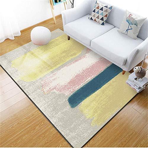 WQ-BBB Dormitorios La Alfombrers Hermosa Diseño de Fiesta Abstracto Amarillo Rosa Azul Gris de Estilo Simple Moderna Alfombra 160X230cm